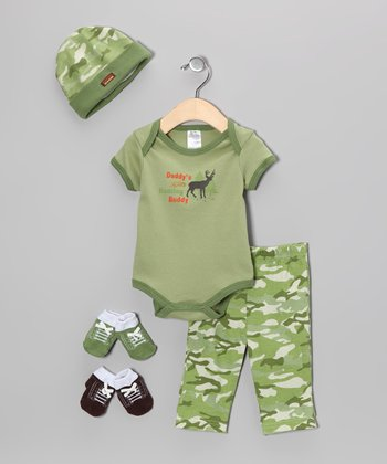 Baby Essentials Green 'Hunting Buddy' Five-Piece Layette Set - Infant
