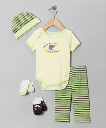 Crème 'I'm a Great Catch' Five-Piece Layette Set
