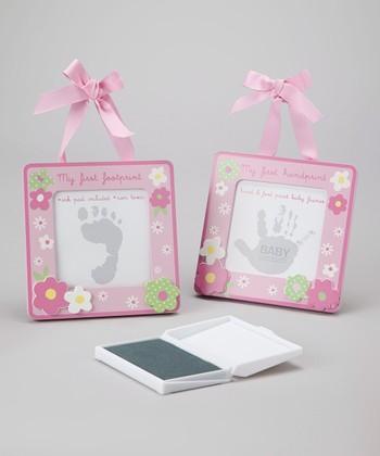 Baby Essentials Pink Daisies Handprint & Footprint Set