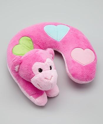 Baby Essentials Pink Monkey Neck Pillow