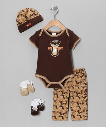 Brown 'Big Shot' Five-Piece Layette Set - Infant