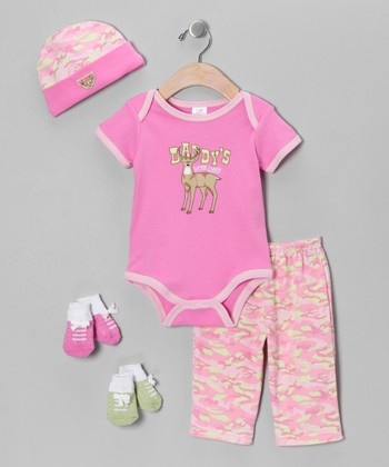 Pink 'Daddy's Little Deer' Bodysuit Set - Infant