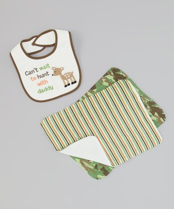 Green Camo 'Hunt With Daddy' Burp Cloth & Bib Set