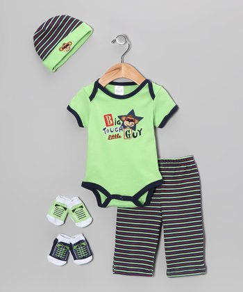 Baby Essentials Green 'Big Tough Little Guy' Five-Piece Layette Set - Infant