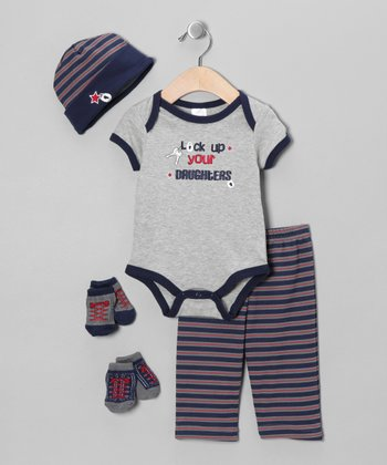 Gray 'Lock Up Your Daughters' Layette Set