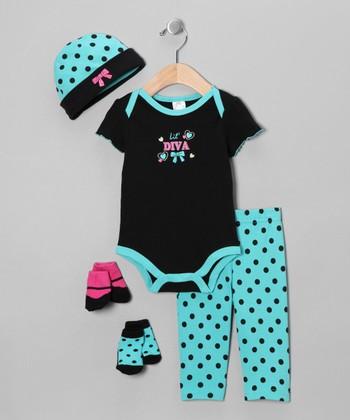 Baby Essentials Teal 'Lil' Diva' Five-Piece Layette Set - Infant
