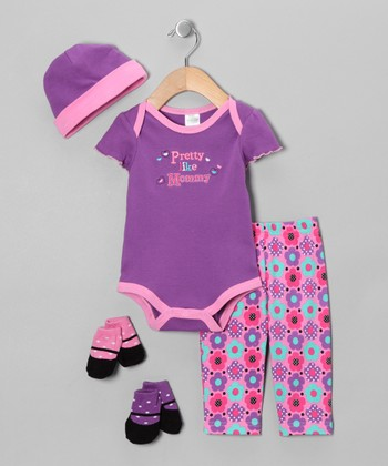 Baby Essentials Purple 'Pretty Like Mommy' Five-Piece Layette Set - Infant