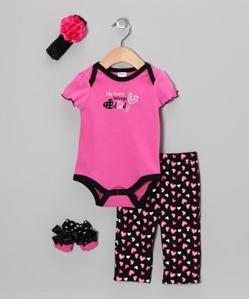 Hot Pink 'My Heart Belongs to Daddy' Bodysuit Set - Infant