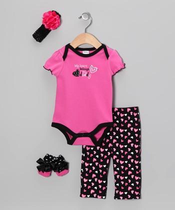 Baby Essentials Hot Pink 'Heart Belongs to Daddy' Bodysuit Set - Infant