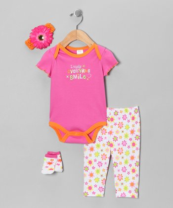 Pink 'I Make Everyone Smile' Four-Piece Layette Set