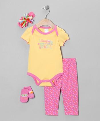 Baby Essentials Yellow 'Ask Grandma Instead' Bodysuit Set - Infant