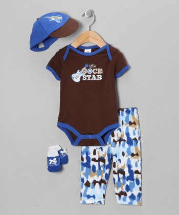Blue 'Little Rock Star' Layette Set