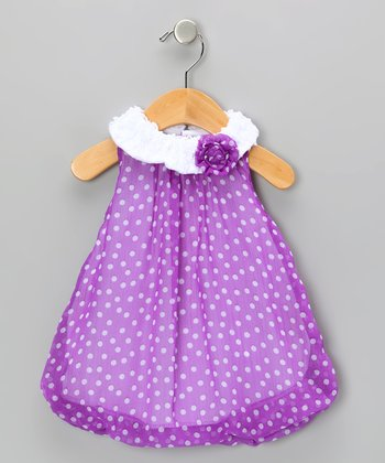 Purple Polka Dot Bubble Romper