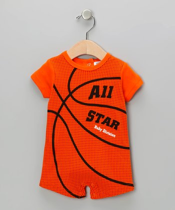 Orange Basketball Romper