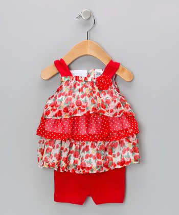 Red Ruffle Bike Top & Shorts