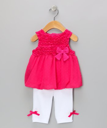Pink Ruffle Bow Top & Capri Leggings
