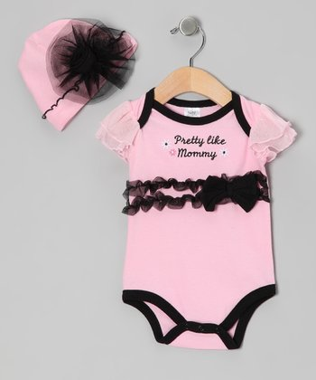 Pink 'Pretty Like Mommy' Bodysuit & Beanie