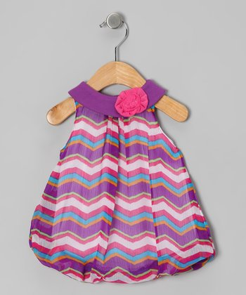 Purple & Pink Zigzag Bubble Romper