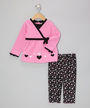 Hot Pink & Black Hearts Surplice Tunic & Leggings - Infant