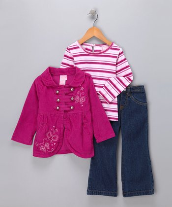 Pink Butterfly Jeans Set - Infant