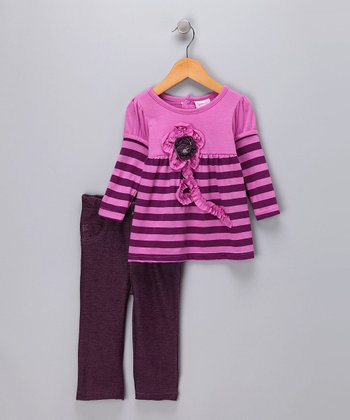 Plum Stripe Layered Tee & Jeggings - Infant
