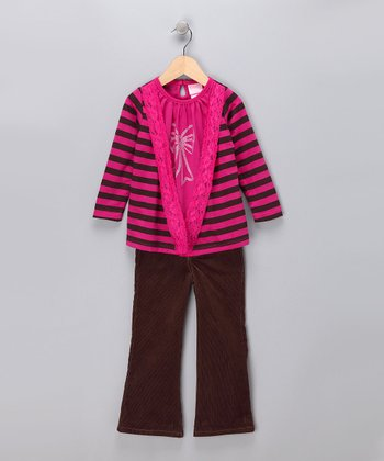 Pink Stripe Layered Tee & Corduroy Pants - Infant