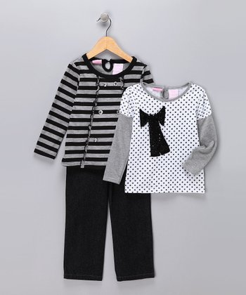Black & Gray Jeans Set - Infant