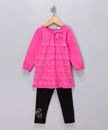 Pink Lace Dress & Leggings - Toddler