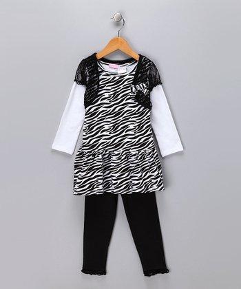 Black Zebra Layered Dress & Leggings - Infant
