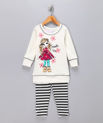 Cream 'Sweetie Pie' Tunic & Leggings - Toddler