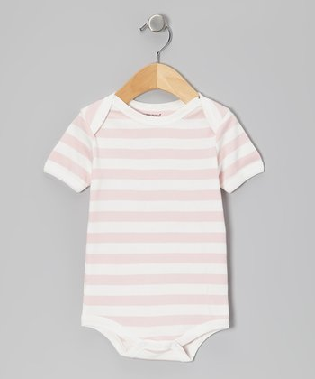Light Pink & White Stripe Organic Bodysuit - Infant