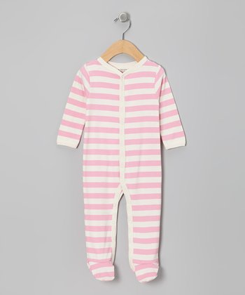 Cotton Candy & White Stripe Organic Footie - Infant