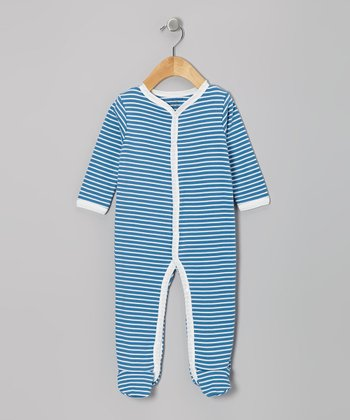 Denim Stripe Organic Footie
