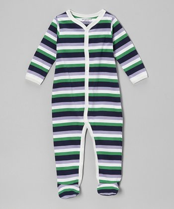 Lilac & Green Stripe Organic Footie