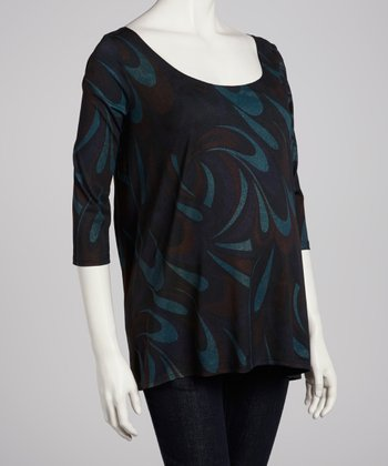 Black & Teal Abstract Hi-Low Maternity Top - Women
