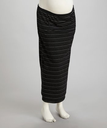 Black & White Stripe Under-Belly Maternity Maxi Skirt