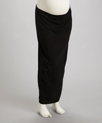 Black Under-Belly Maternity Maxi Skirt