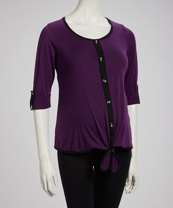 Purple Tie-Front Maternity Button-Up Top - Women