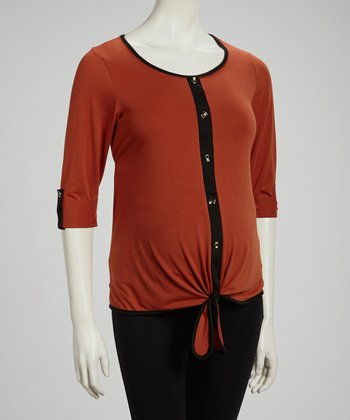 Rust Tie-Front Maternity Button-Up Top - Women