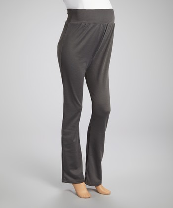 Gunmetal Over-Belly Maternity Pants