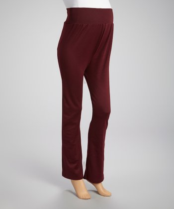 Burgundy Over-Belly Maternity Pants
