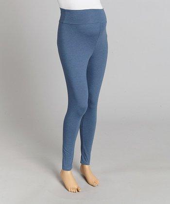 CT Maternity Denim Blue Over-Belly Maternity Leggings - Women