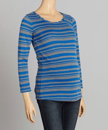 CT Maternity CT Royal Blue & Gray Stripe Maternity Top