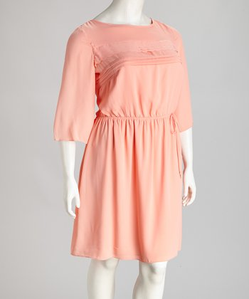 Peach Three-Quarter Sleeve Dress - Plus