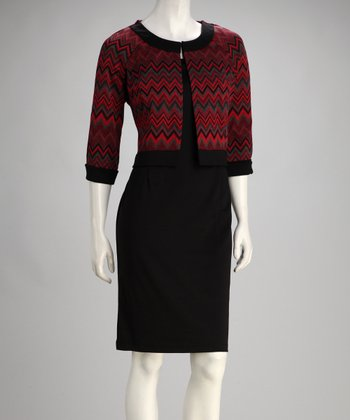 Red Zigzag Jacket & Black Dress