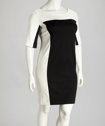 Ivory & Black Color Block Shift Dress - Plus