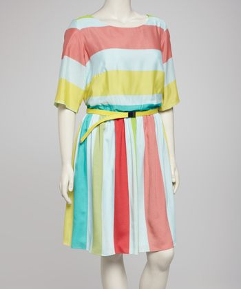 Light Blue & Yellow Stripe Dress - Plus