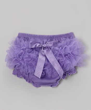 Purple Ruffle Bow Diaper Cover - Infant & Toddler
