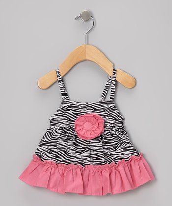 Black & Lipstick Pink Zebra Rosette Ruffle Top - Infant & Toddler