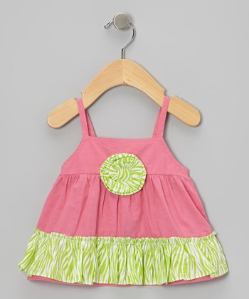 Lipstick Pink & Lime Zebra Rosette Ruffle Top - Infant & Toddler